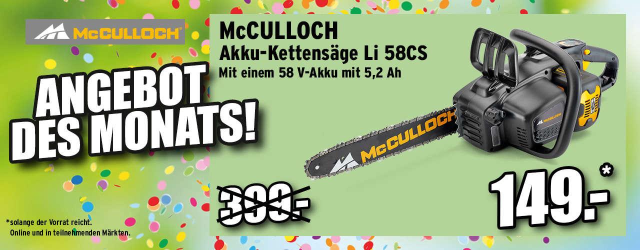 McCulloch Akku-Kettensäge Li-58 CS