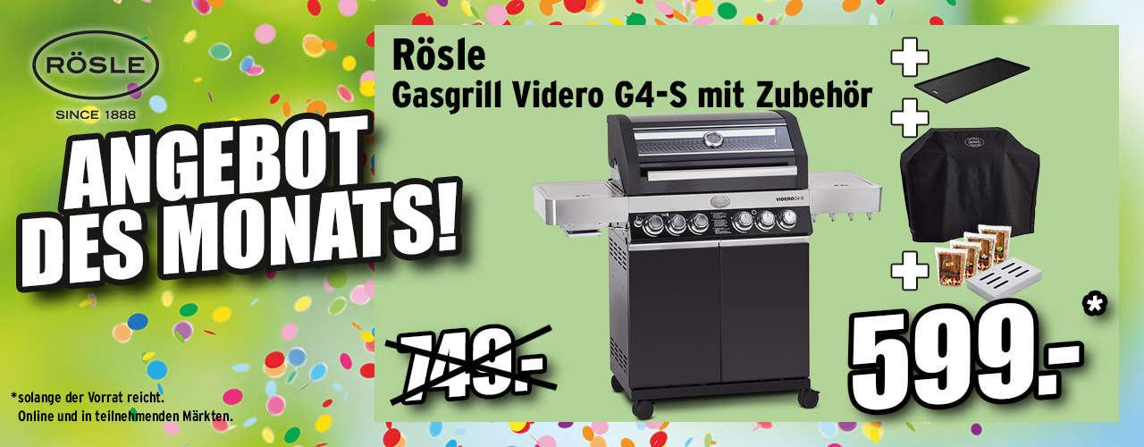 RÖSLE Gasgrill Videro G4-S, schwarz, inkl. Räucherset