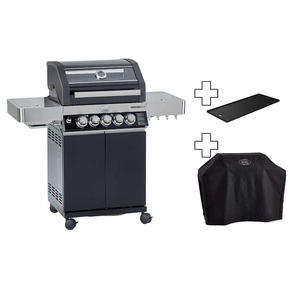 r sle gasgrill videro g3 s schwarz inkl wetterschutzhaube grillplatte steakzone. Black Bedroom Furniture Sets. Home Design Ideas