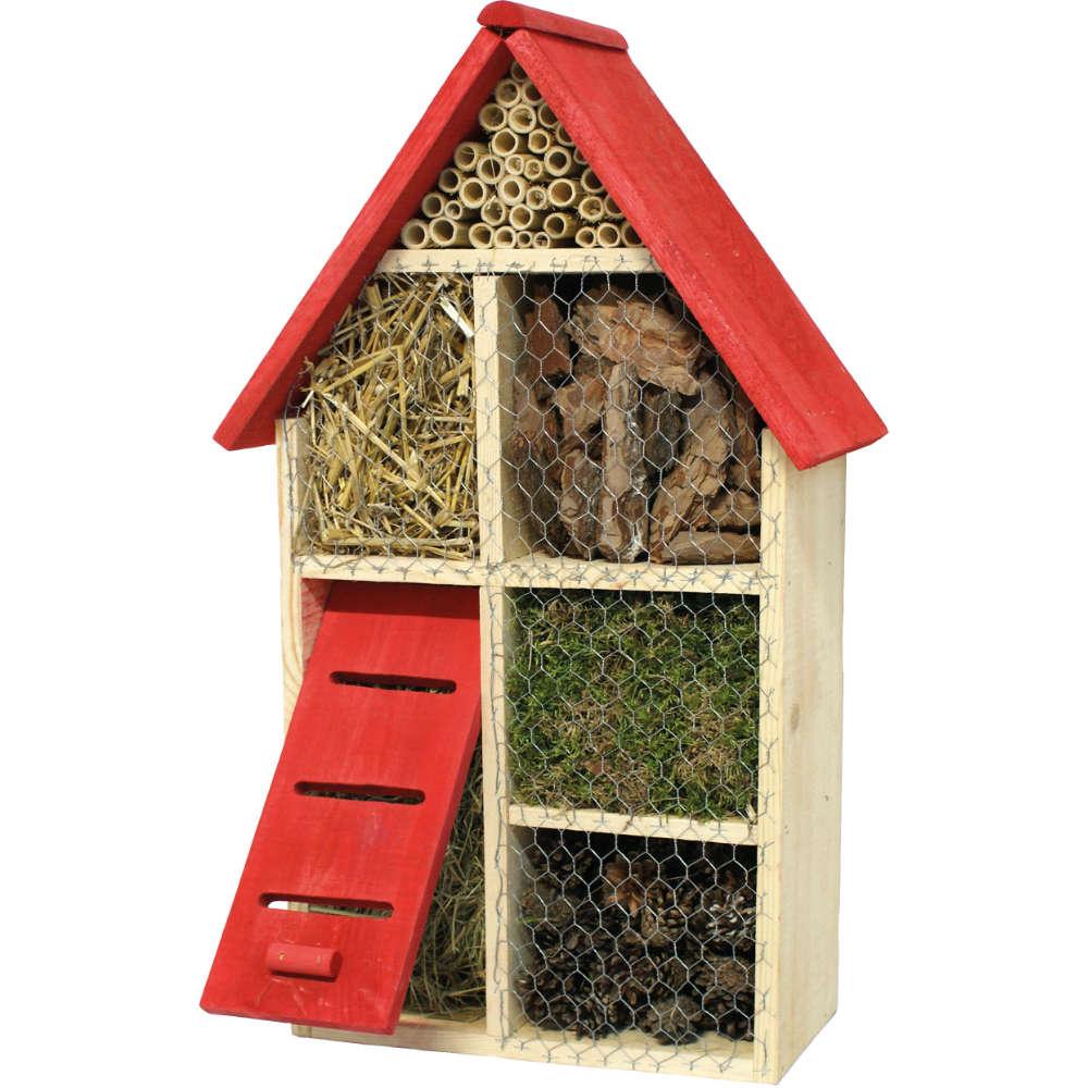 Insektenhotel mit rotem Dach