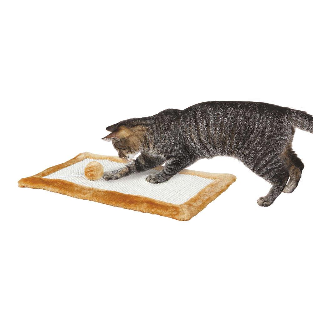 TRIXIE Kratzmatte mit Plüschrand - Katzenzubehoer