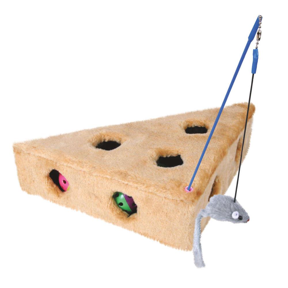 TRIXIE Cats Cheese mit Spielangel + 3 Spielbaellen - Katzenspielzeug