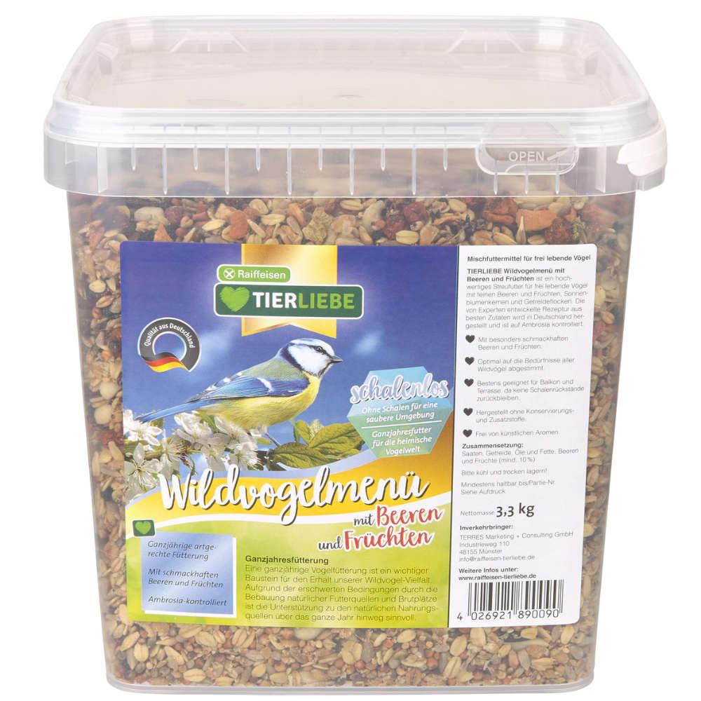 TIERLIEBE Wildvogel menü mit Beeren und Früchten