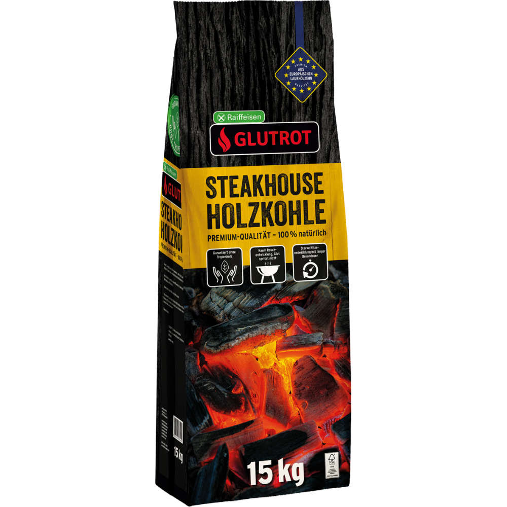 Raiffeisen GLUTROT Steakhouse Holzkohle 15kg