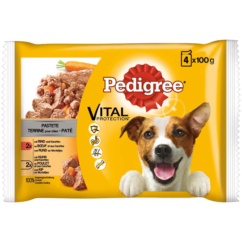 PEDIGREE Hunde-Trockenfutter PORTIONSBTL. PASTETE RIND+HUHN+KAROTTEN