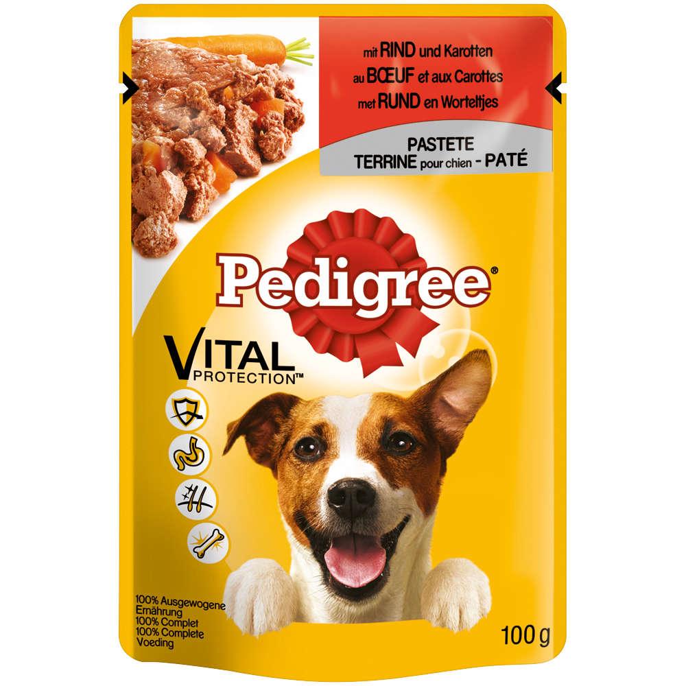 PEDIGREE Hunde-Nassfutter PORTIONSBTL. PASTETE RIND + KAROTTEN