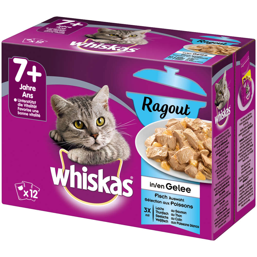 WHISKAS PB 7+ RAGOUT FISCHAUSWAHL IN GELEE 12X85G