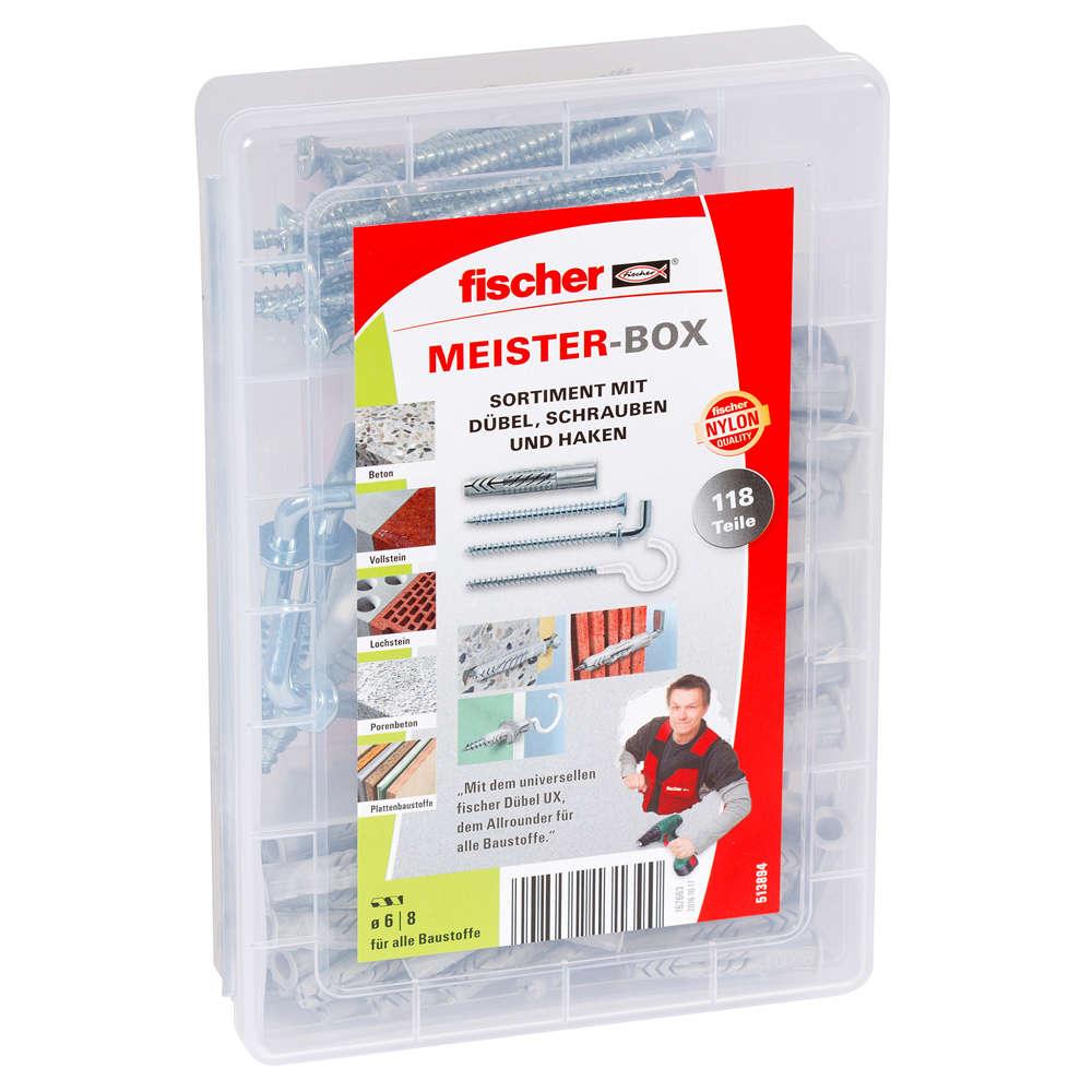 Fischer MEISTER-BOX UX + Schrauben + Haken