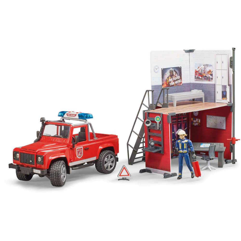 bruder bworld Feuerwehrstation mit Land Rover Defender