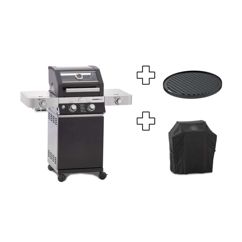 RÖSLE Gasgrill Videro G2-S Vario+ schwarz, inkl. Schutzhaube/Grillplatte/Steakzone