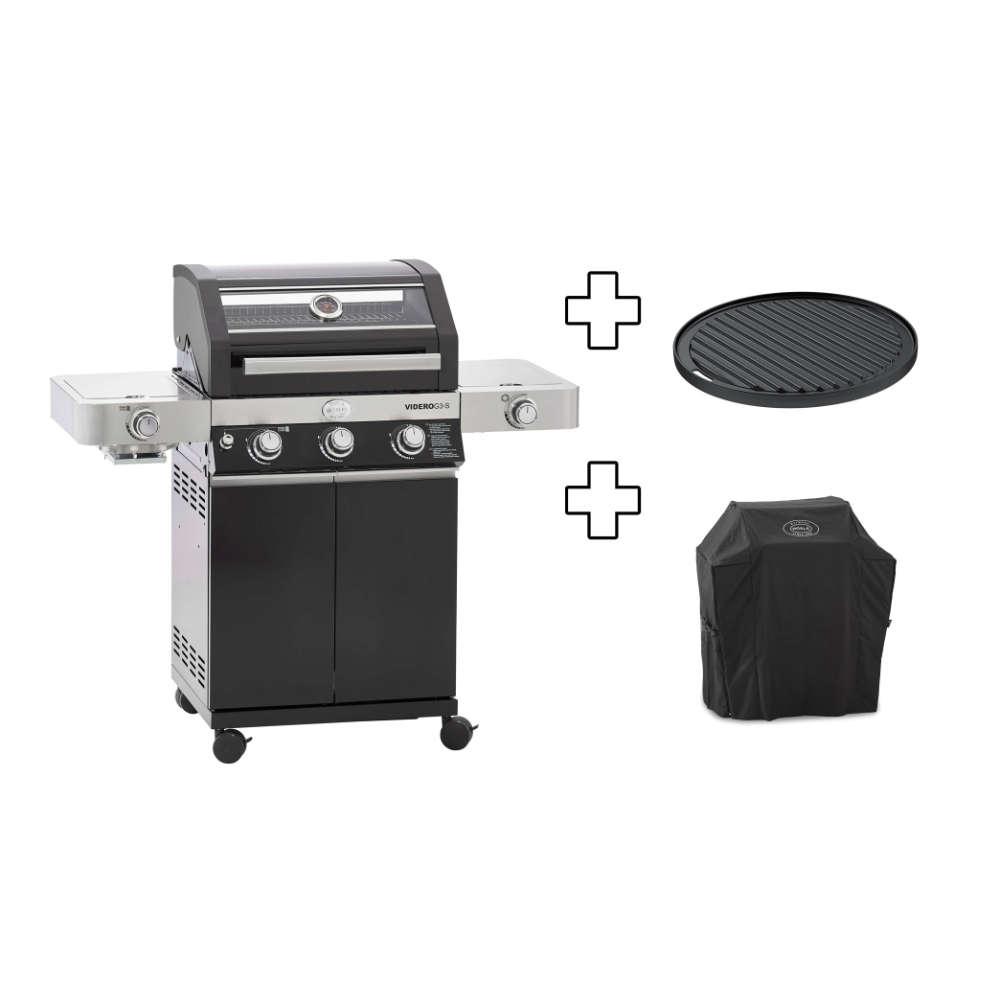 Rösle Gasgrill Videro G3-S Vario+ schwarz, inkl. Schutzhaube/Grillplatte/Steakzone