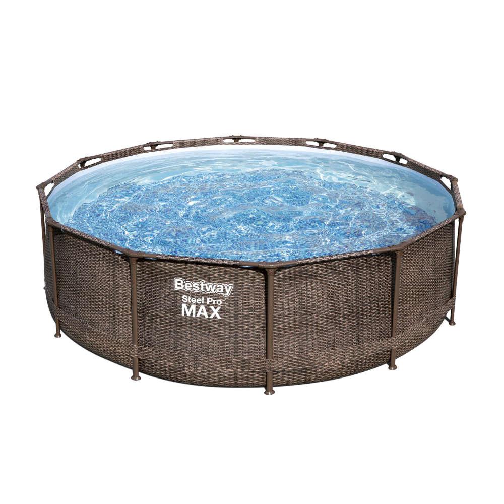 Bestway Steel Pro MAX  Frame Pool Komplett-Set, rund, mit Filterpumpe & Sicherheitsleiter 366 x 100 cm