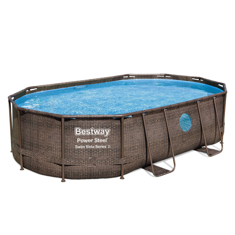 Bestway Power Steel™ Swim Vista Series™ Frame Pool Komplett-Set, oval, mit Sandfilteranlage, Sicherheitsleiter & Abdeckplane 488 x 305 x 107 cm