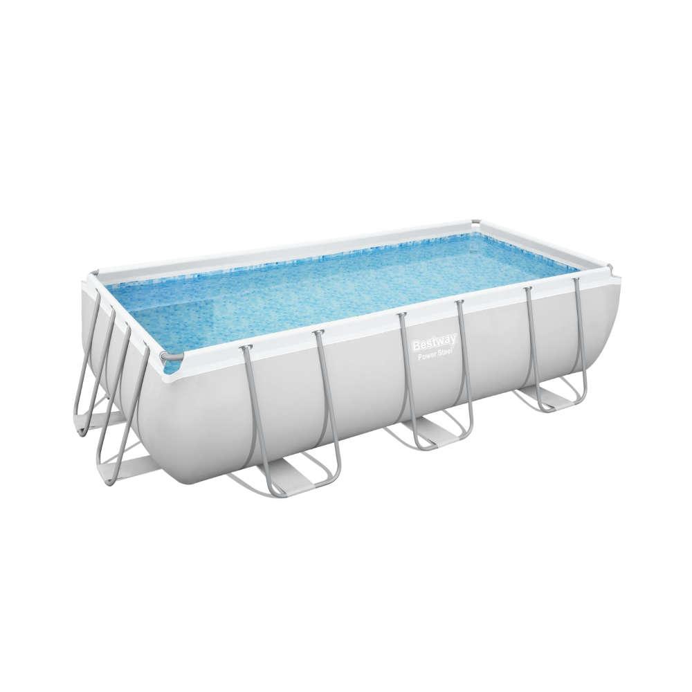 Bestway Power Steel Frame Pool Komplett-Set, eckig, mit Filterpumpe & Sicherheitsleiter 404 x 201 x 100 cm
