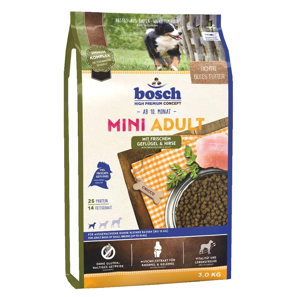 bosch Hunde-Trockenfutter Tiernahrung Mini Adult Gefluegel & Hirse - bosch