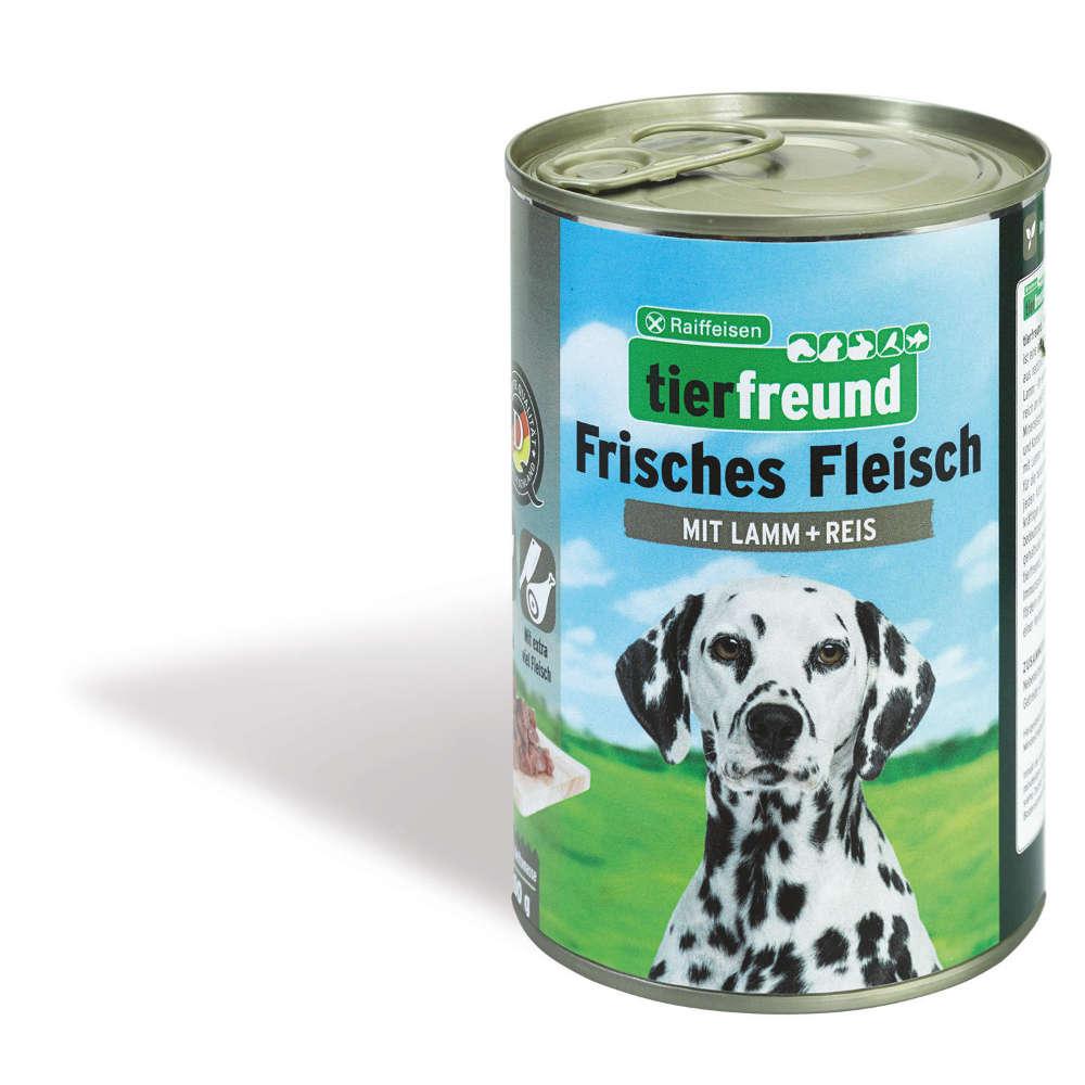 tierfreund Frisches Hunde-Nassfutter Fleisch Lamm + Reis