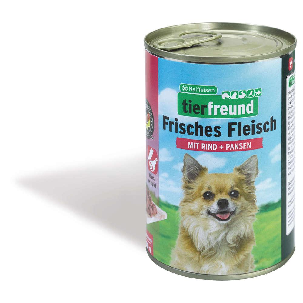 Raiffeisen tierfreund Frisches Fleisch Rind + Pansen - Hunde-Nassfutter