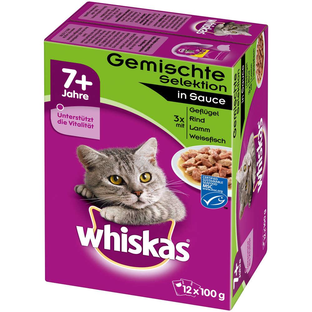 WHISKAS 7 Fleisch und Fischauswahl in Sauce- Katzen-Nassfutter