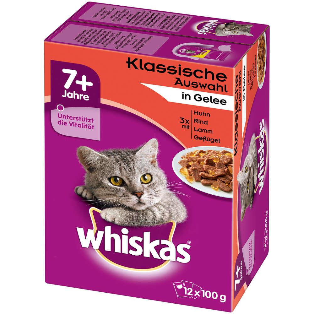 WHISKAS 7  Fleischauswahl in Gelee 12X100 g - Katzen-Nassfutter