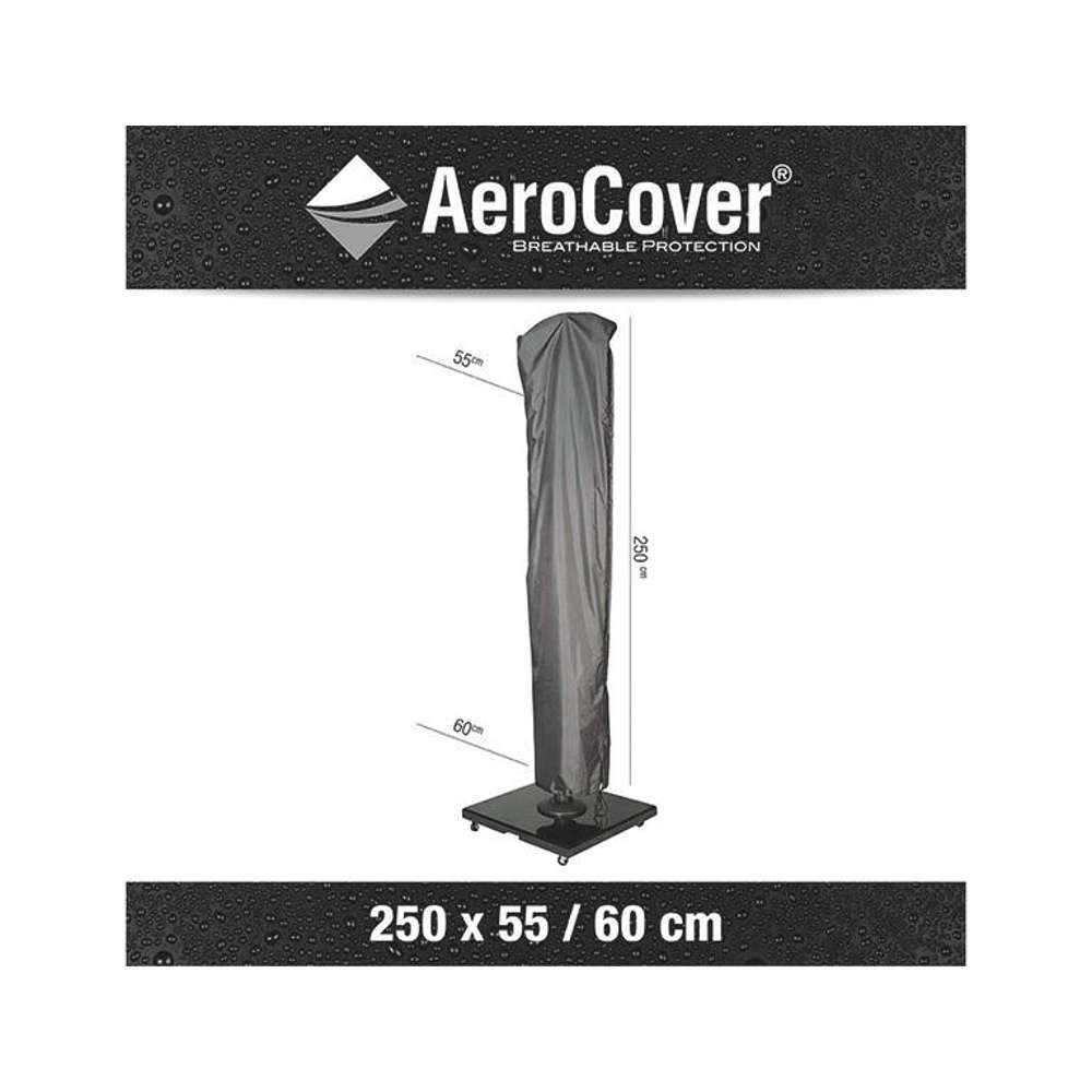 AEROCOVER Atmungsaktive Schutzhülle für Ampelschirme  H250x55/60 cm  Ø 3,5m